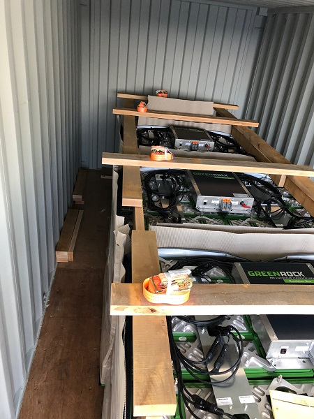 battery blocks inside the container